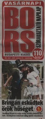 Vasárnapi Bors - Zita és Árpi bringás esküvője címlapon